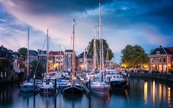 Wallpaper Dordrecht, Netherlands, yachts, port, city, lights, clouds, evening