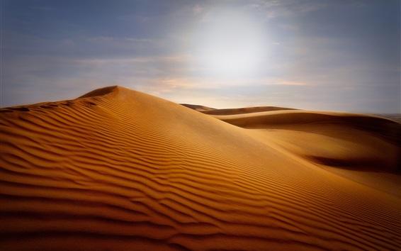 壁紙 砂丘、砂漠、砂、太陽