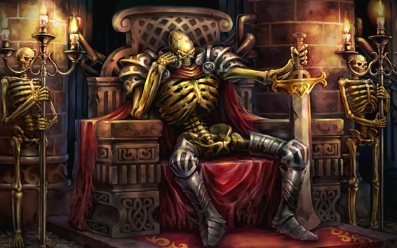 Wallpaper Dungeon, guards, hell, skull, candles, art picture