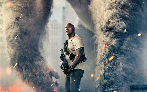 Wallpaper Dwayne Johnson, Rampage 2018