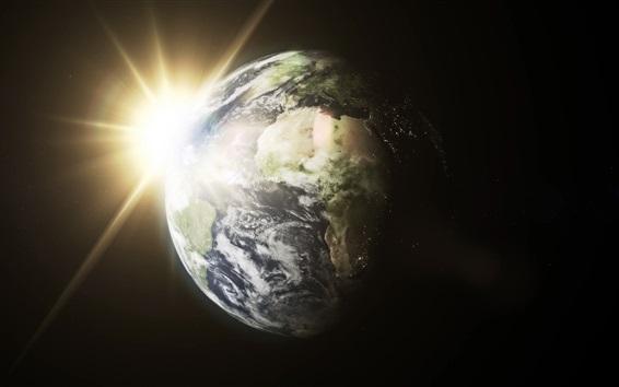 Fond d'écran Terre, soleil, rayons de lumière, espace