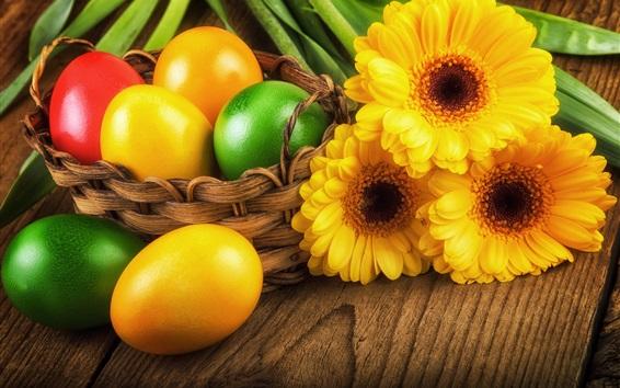 Wallpaper Easter eggs, yellow gerbera, spring