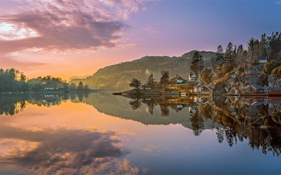 Wallpaper Egersund, Norway, mountains, trees, houses, lake, water reflection