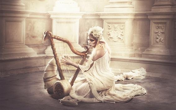 Wallpaper Elf girl play harp