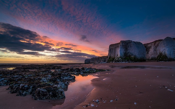 Wallpaper England, Botany Bay, sunrise, clouds, sea