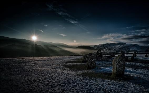 Fond d'écran Angleterre, cambrie, castlerigg pierre, cercle, montagnes, coucher soleil