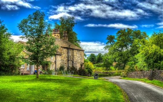 Wallpaper England, Downham, house, trees, meadow