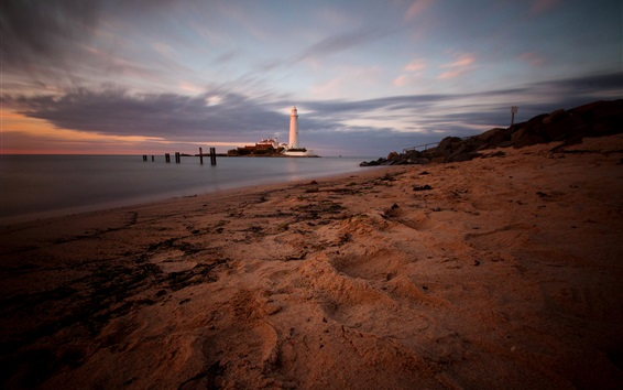 Wallpaper England, St. Mary's Lighthouse, coast, beach, sea, dusk