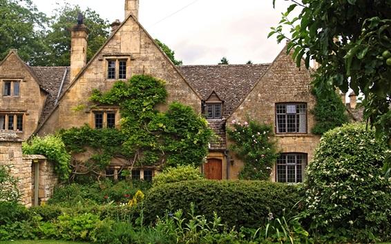 Wallpaper England, Tewkesbury, house, grass, bushes