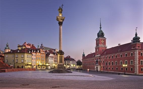 Fond d'écran Europe, Pologne, Varsovie, ville, crépuscule, lumières