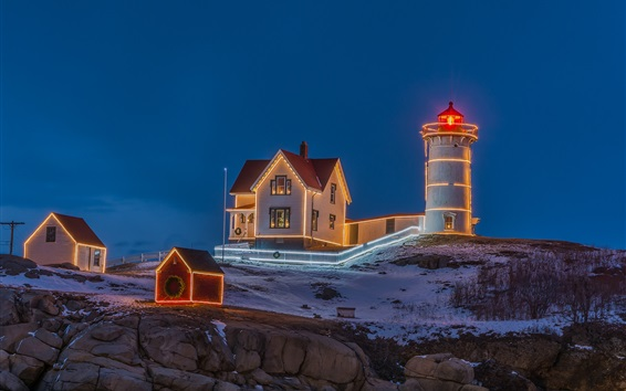 Wallpaper Evening, lighthouse, houses, lights