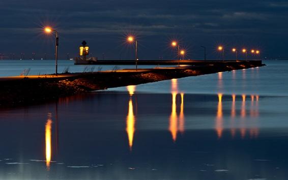Wallpaper Falsterbo, river, night, lights, Sweden