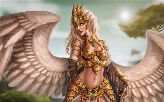Fond d'écran Fille fantastique, ange, ailes, guerrier