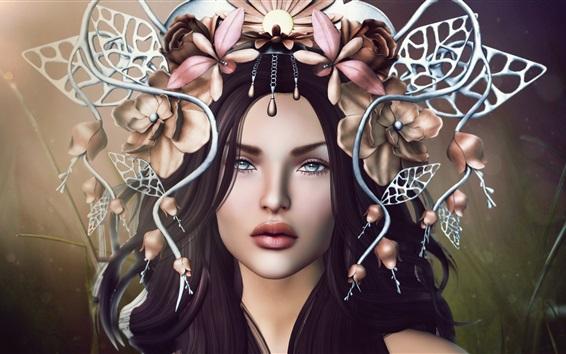 Wallpaper Fantasy girl, face, hair decoration, flowers