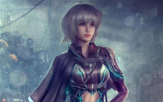 Wallpaper Fantasy girl, short hair, fiction, Cyberpunk