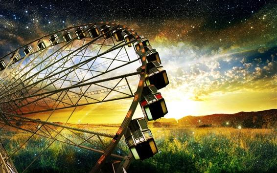 Wallpaper Ferris wheel, grass, sky, stars, clouds