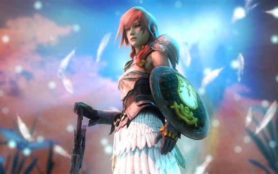 Fondos de pantalla Final Fantasy XIII, Rayo, niña de cabello rosado, espada, escudo