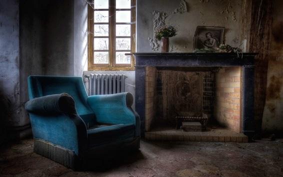 Papéis de Parede Lareira, cadeira, janela, poeira