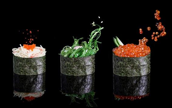 Papéis de Parede Comida, nori, caviar, gergelim, vegetal, fundo preto