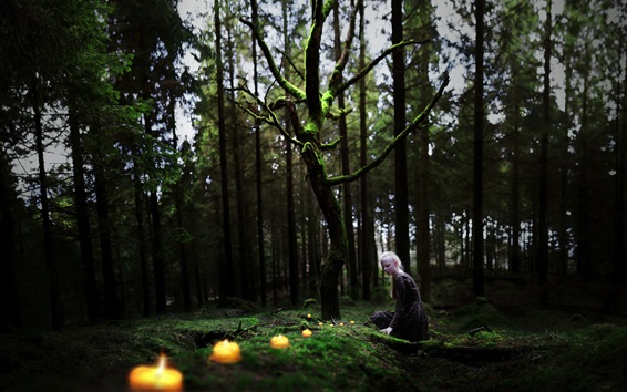 Wallpaper Forest, white hair girl, candles
