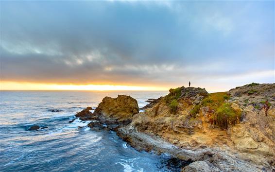Wallpaper Fort Bragg, California, USA, sea, coast, sunset