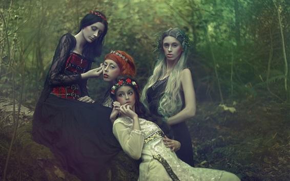 Wallpaper Four girls, forest, makeup, dream