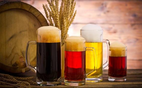壁纸 四杯啤酒,泡沫