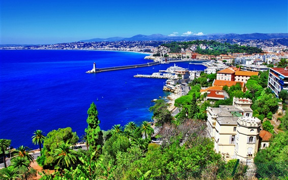 Wallpaper France, Nice, city, trees, mountains, sea, lighthouse