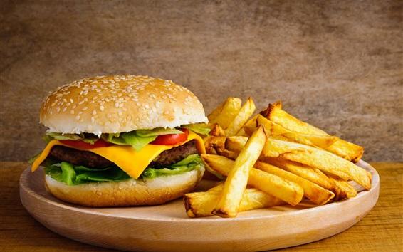 Wallpaper French fries, hamburger, cheese, food