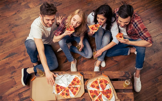 Wallpaper Friends eating pizza