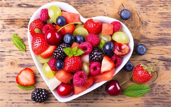 Wallpaper Fruit salad, berries, love heart bowl