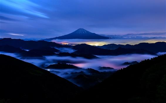 Fond d'écran Mont Fuji, nuit, montagnes, brouillard, Japon