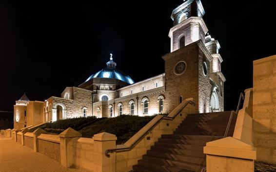 Papéis de Parede Geraldton, Austrália, catedral, noite, luzes
