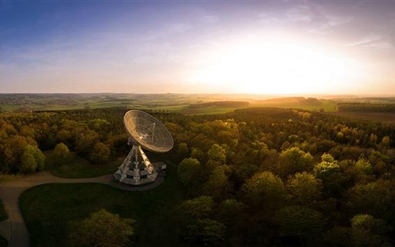 Papéis de Parede Alemanha, astropeiler, Stockert radiotelescópio, árvores, pôr do sol