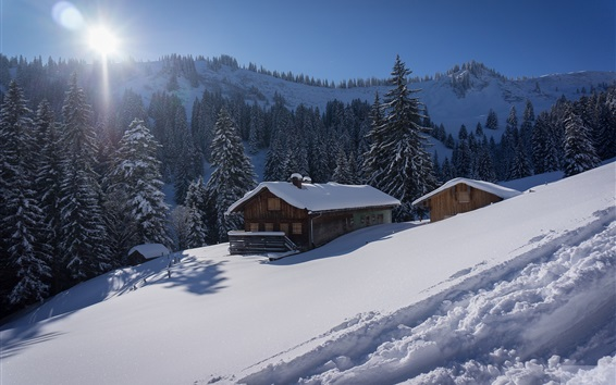 Wallpaper Germany, Bavaria, Allgau Alps, snow, trees, house