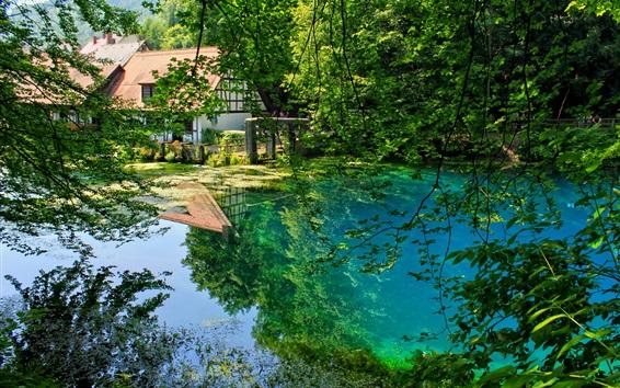 Fondos de pantalla Alemania, Blaubeuren, casa, árboles, estanque