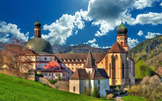 Fond d'écran Allemagne, monastère, nuages, arbres, pente, herbe