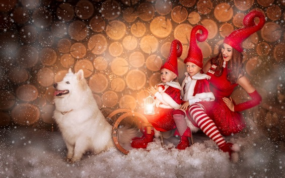Wallpaper Girl and childs, Christmas dress, dog, snow, happy