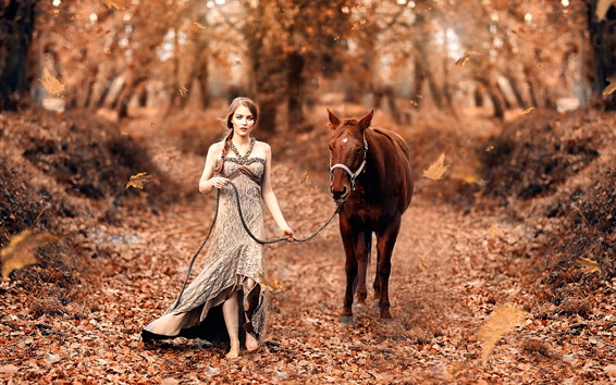 Wallpaper Girl and horse, autumn, forest