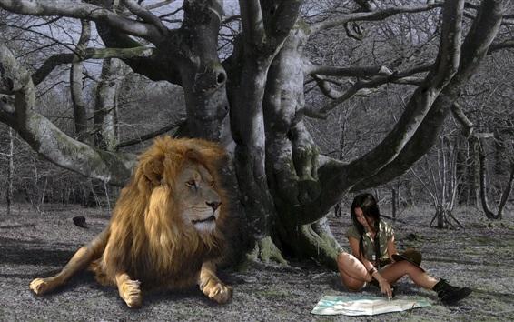Fond d'écran Fille et lion, sous l'arbre, carte
