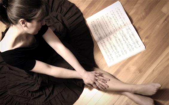 Papéis de Parede Menina e livro de música