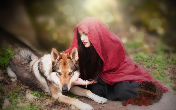 Wallpaper Girl and wolf, red scarf