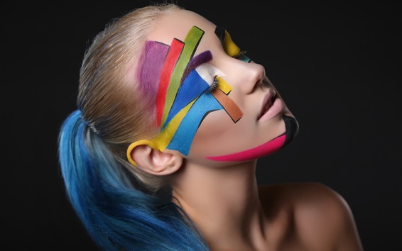 Wallpaper Girl, art photography, face, colors, black background