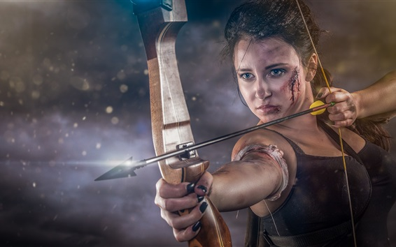 Wallpaper Girl, bow, arrow, wound, blood