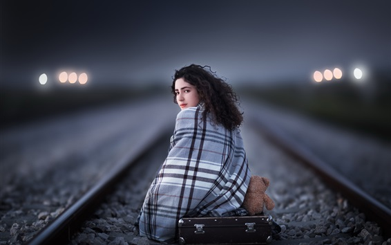 Wallpaper Girl look back, suitcase, railroad, night