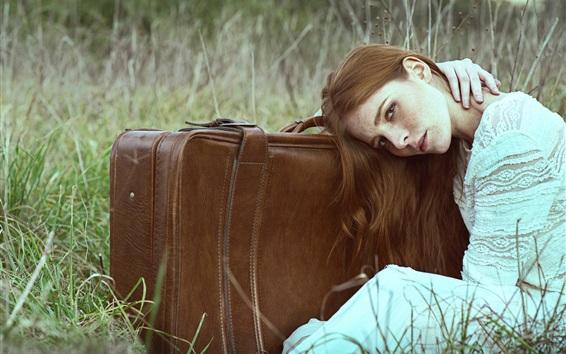 Wallpaper Girl, suitcase, grass