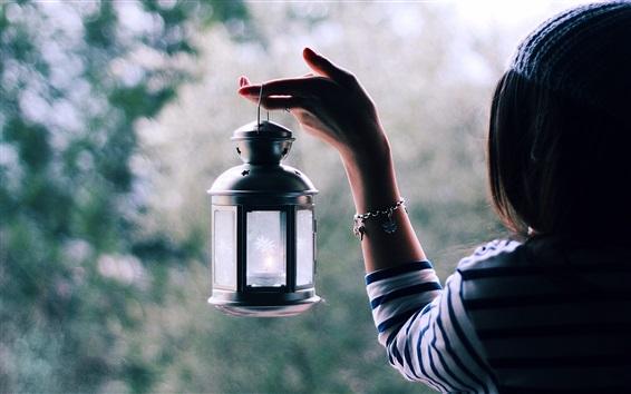 Wallpaper Girl take lantern, hand