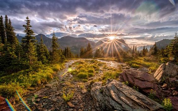 Fondos de pantalla Parque Nacional Glacier, montañas, árboles, piedras, rayos de sol, otoño, Estados Unidos