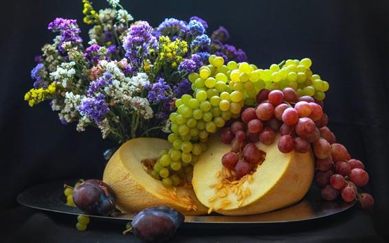 Обои Виноград, дыня, фрукты, цветы
