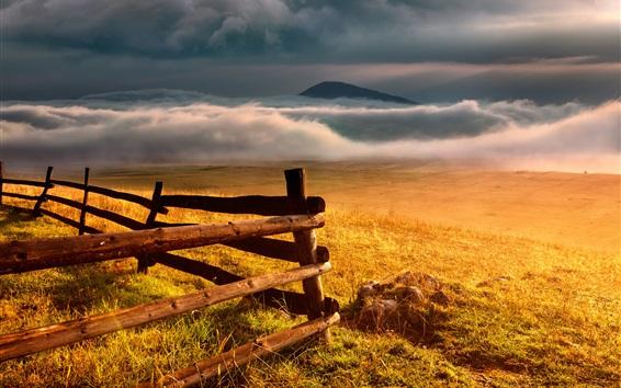 Papéis de Parede Grama, cerca, nuvens, outono